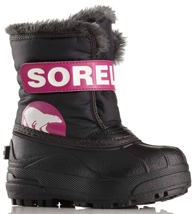 Sorel Snow Commander Kid's Snow Boots, UK Infant 5 Black/Haute Pink