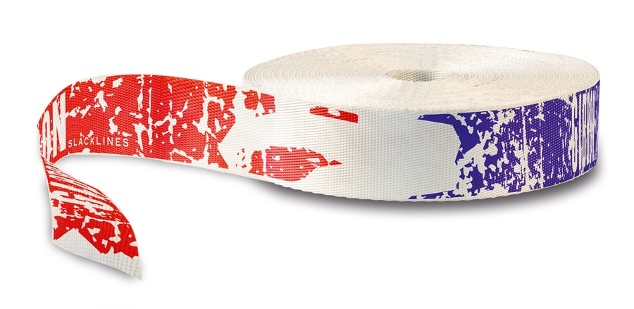 Gibbon Epic Pro Webbing Slackline, 25m X 50mm, Red/White/Blue