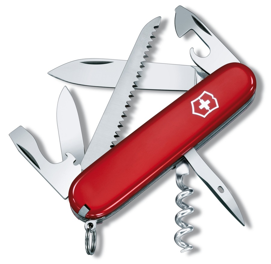 Victorinox Camper Swiss Army Penknife Pocket Multi Tool, 13 Tools Red