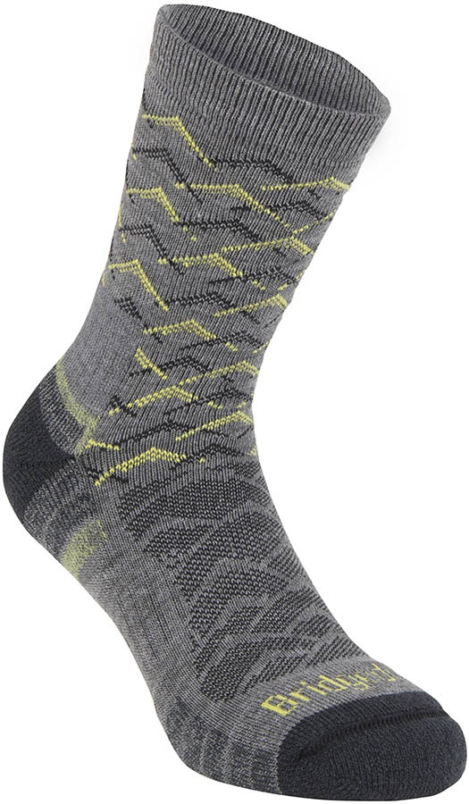 Bridgedale Hike Lightweight 3/4 Crew Men's Hiking Socks, XL Grey/Lime