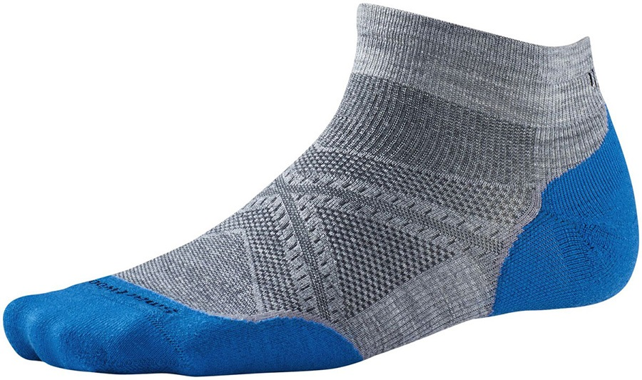 Smartwool PhD Run Light Elite Low Cut Socks, 11-13.5, Light Grey