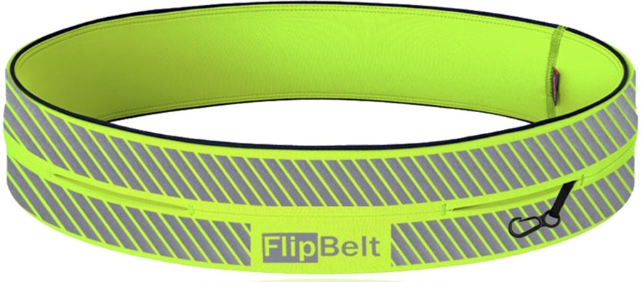 FlipBelt Reflective Running Belt, S Neon Yellow