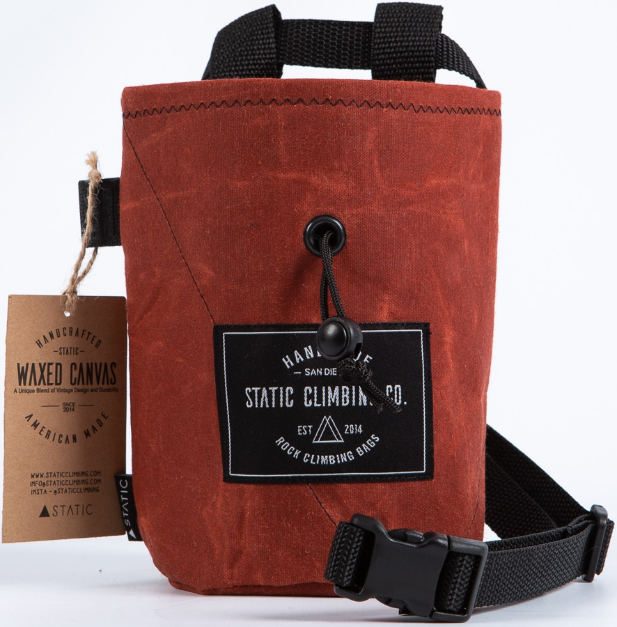 Static Waxed Canvas Rock Climbing Chalk Bag: Oxblood