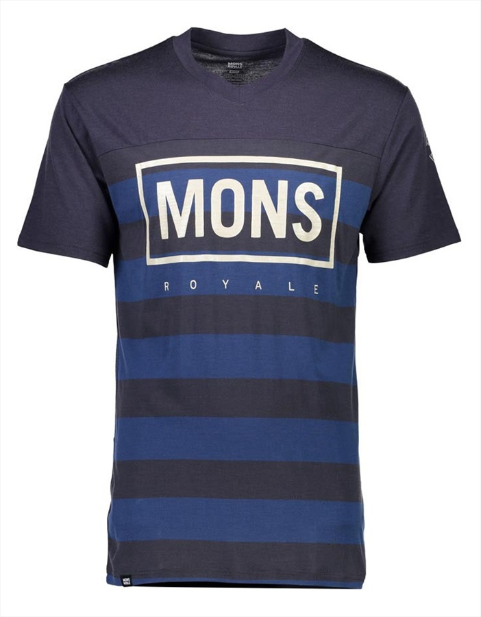 Mons Royale Redwood V Men's 140gsm Merino T-Shirt L Ink Stripe