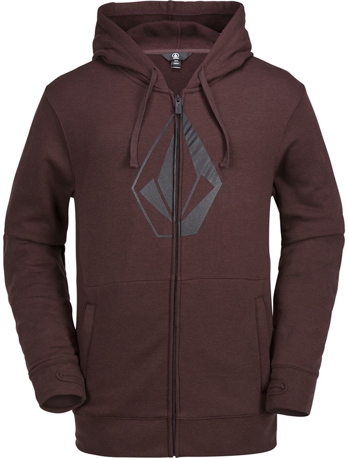 Volcom JLA Stone Zip Fleece Ski/Snowboard Hoody, L Burnt Red