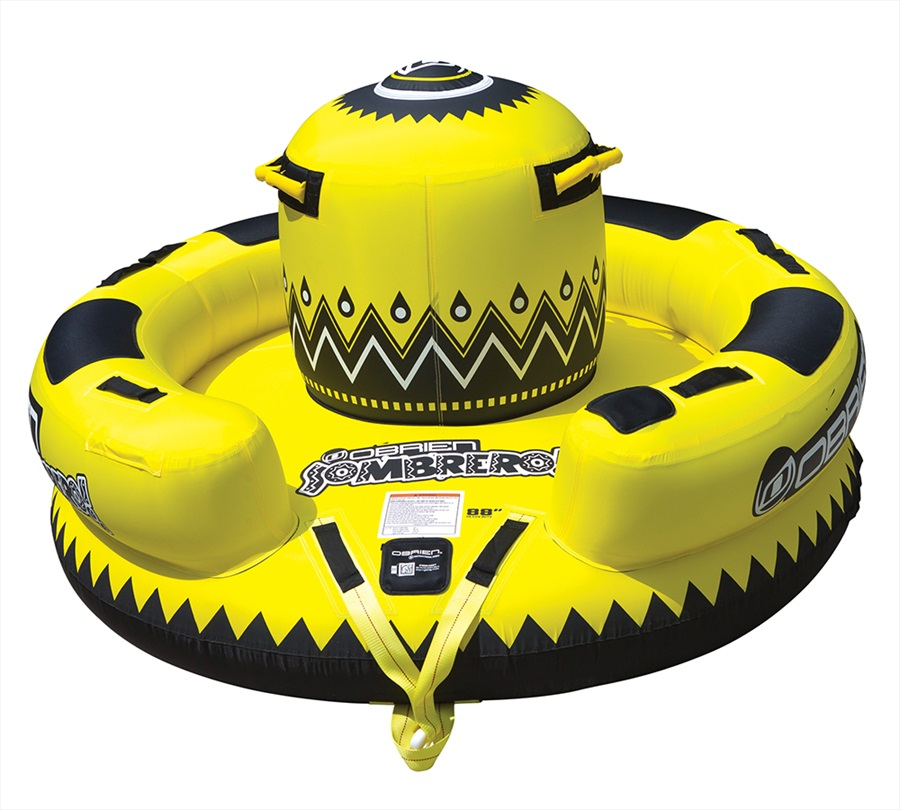 O'Brien Sombrero Kickback Towable Inflatable Tube, 4 Rider Yellow 2019