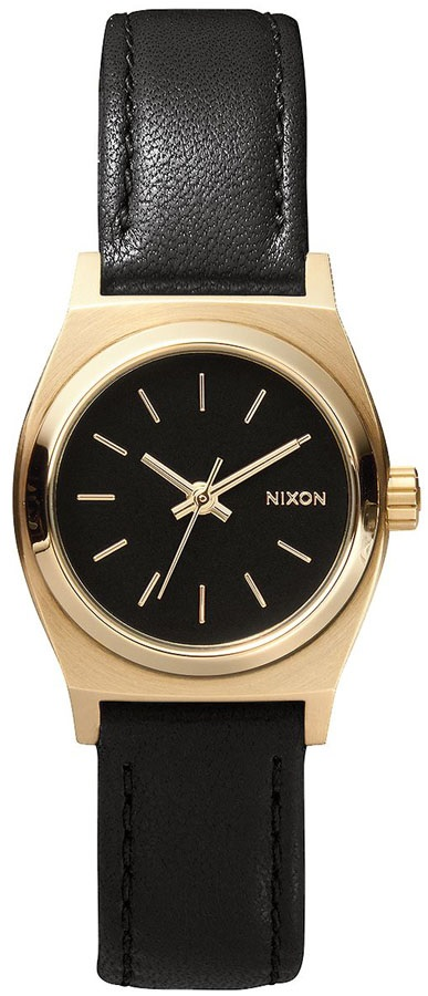 Nixon Small Time Teller Leather Women's Watch Black/Gold