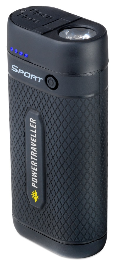 PowerTraveller Sport 25 Travel Power Pack & Torch, Black