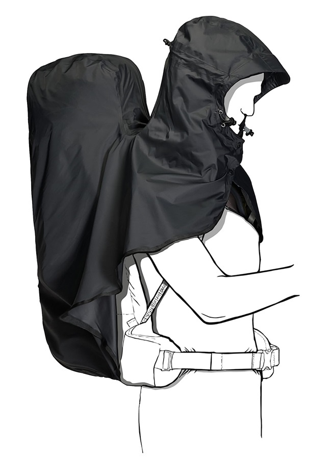 Jack Wolfskin Raincover Hoody Rain Poncho With Backpack Cover, 45-65L