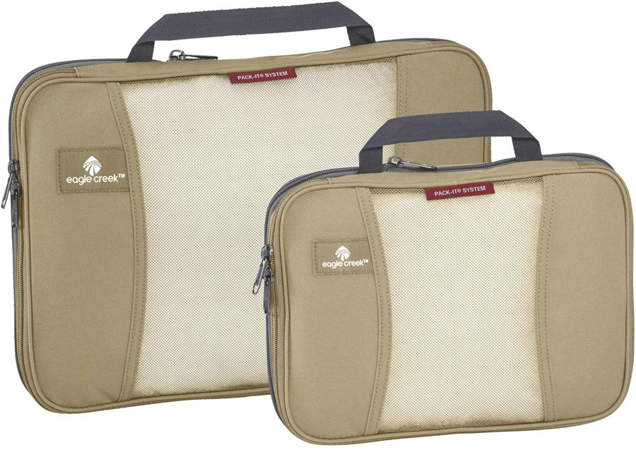 Eagle Creek Pack-It™ Compression Cube Set Bag Organiser, 2 Pieces Tan