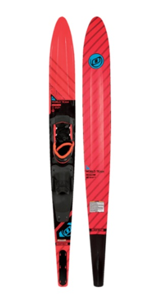 "O'Brien World Team Slalom Waterski With Bindings, 66"" Bl Red 2019"