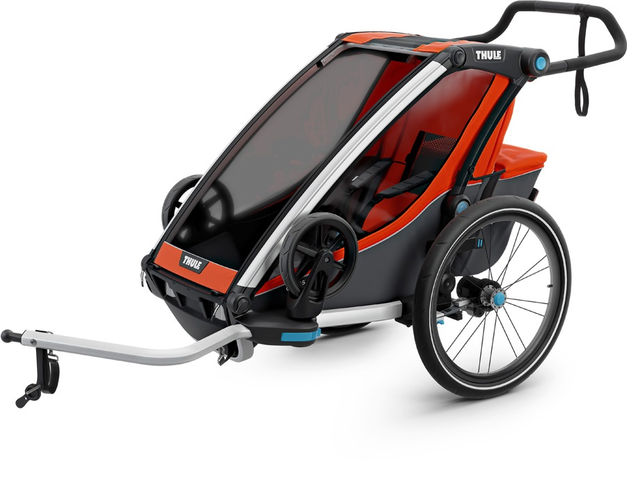 Thule Chariot Cross 1 Child Carrier + Cycle & Strolling Kit, Orange
