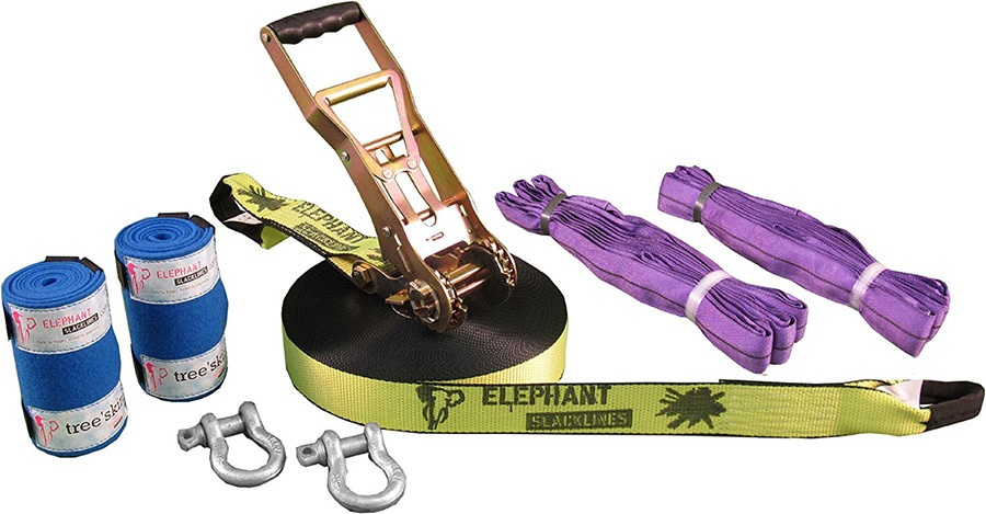 Elephant Slacklines Freak Flash'line Slackline Full Set, 25m Neon