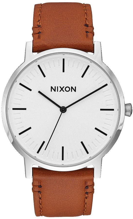 Nixon Porter 40 Leather Men's Wrist Watch, White Sunray/Saddle