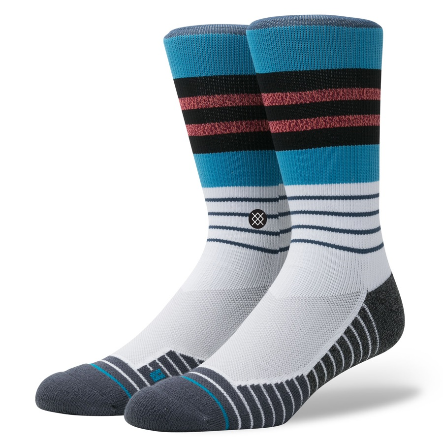 Stance Triot Crew Fusion Athletic Socks, M, Blue/White