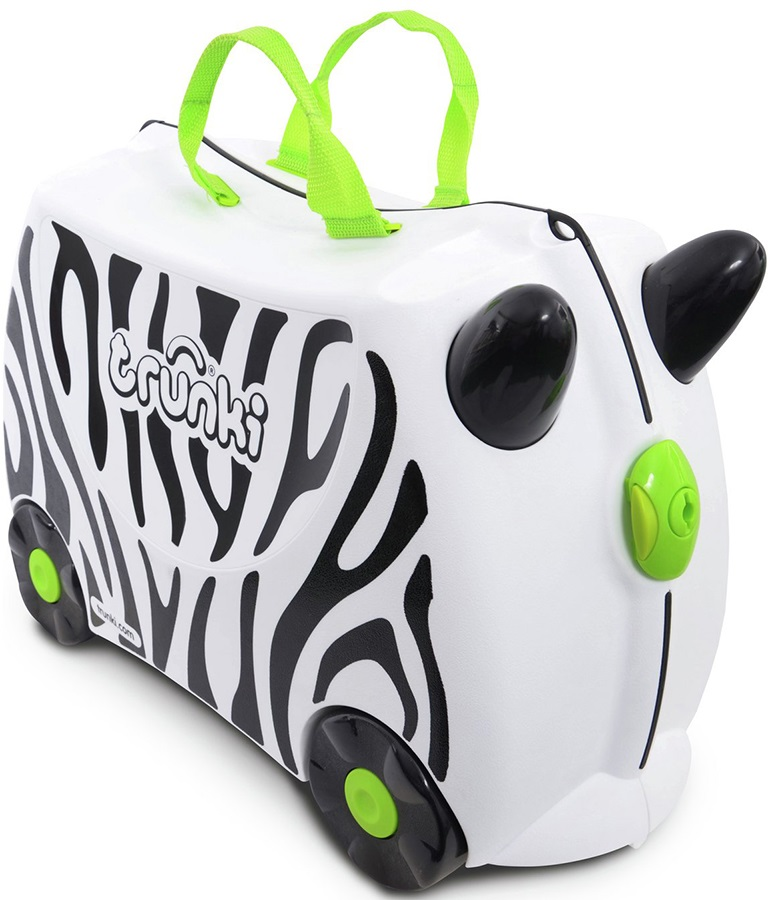 Trunki Zimba Zebra Kid's Wheeled Hand Luggage, 18L White/Black