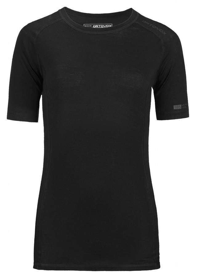 Ortovox Merino Pure 185 Women's Short Sleeve Thermal Top UK 12 Black