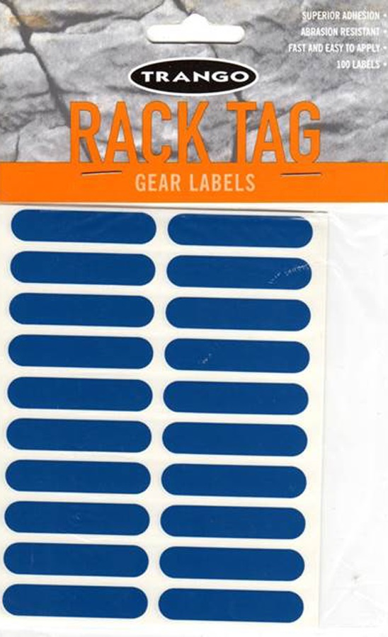 Trango Rack Tags Climbing Gear Labels, 100 Pack, Blue